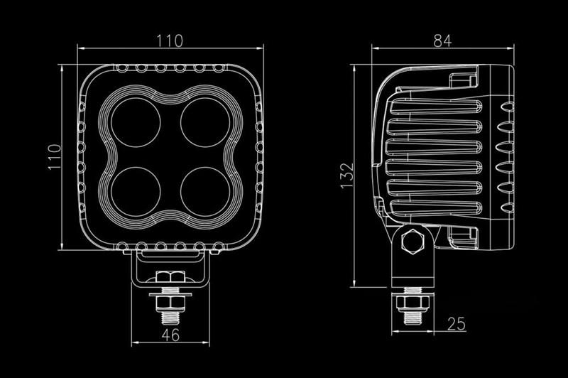 Светодиодная фара BULLPRO 60ВТ (4X15ВТ) - фото 5746