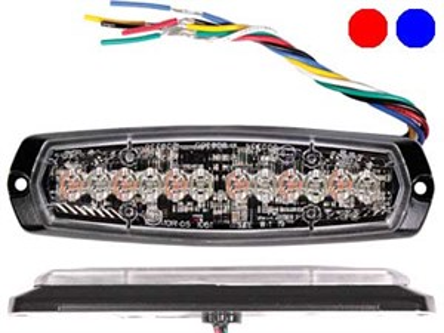 Проблесковый сигнал AXIXTECH 12 LED красный/синий 12/24V, тонкий горизонтальный - фото 6726