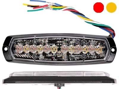 Стробоскоп вспышка AXIXTECH 12 LED красный/желтый 12/24V, тонкий горизонтальный - фото 6727