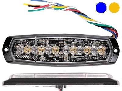 Проблесковый сигнал AXIXTECH 12 LED синий/желтый 12/24V, тонкий горизонтальный - фото 6728