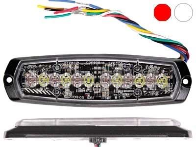 Проблесковый сигнал AXIXTECH 12 LED красный/белый 12/24V, тонкий горизонтальный - фото 6729