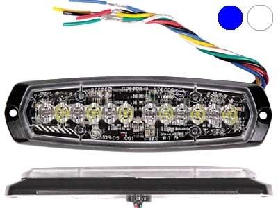Проблесковый сигнал AXIXTECH 12 LED синий/белый 12/24V, тонкий горизонтальный - фото 6730
