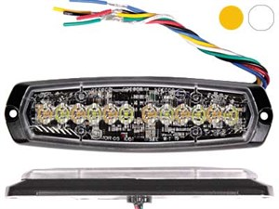 Стробоскоп вспышка AXIXTECH 12 LED желтый/белый 12/24V, тонкий горизонтальный - фото 6731