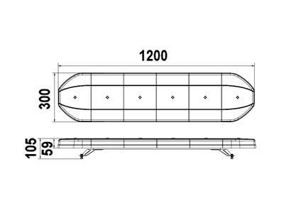 Проблесковая панель LED 1200x105x300 (желтый цвет) - фото 7800