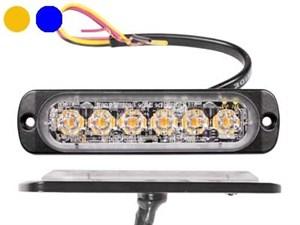 Пролесковый сигнал LED 6/6X1W (желтый/синий) 12/24V тонкий горизонтальный