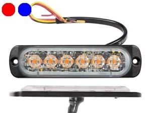 Пролесковый сигнал LED 6/6X1W (красный/синий) 12/24V тонкий горизонтальный
