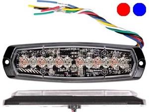 Проблесковый сигнал AXIXTECH 12 LED красный/синий 12/24V, тонкий горизонтальный
