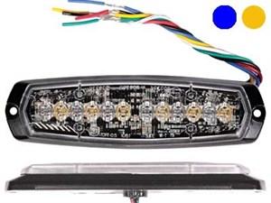 Проблесковый сигнал AXIXTECH 12 LED синий/желтый 12/24V, тонкий горизонтальный