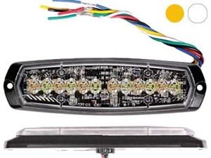 Проблесковый сигнал AXIXTECH 12 LED желтый/белый 12/24V, тонкий горизонтальный
